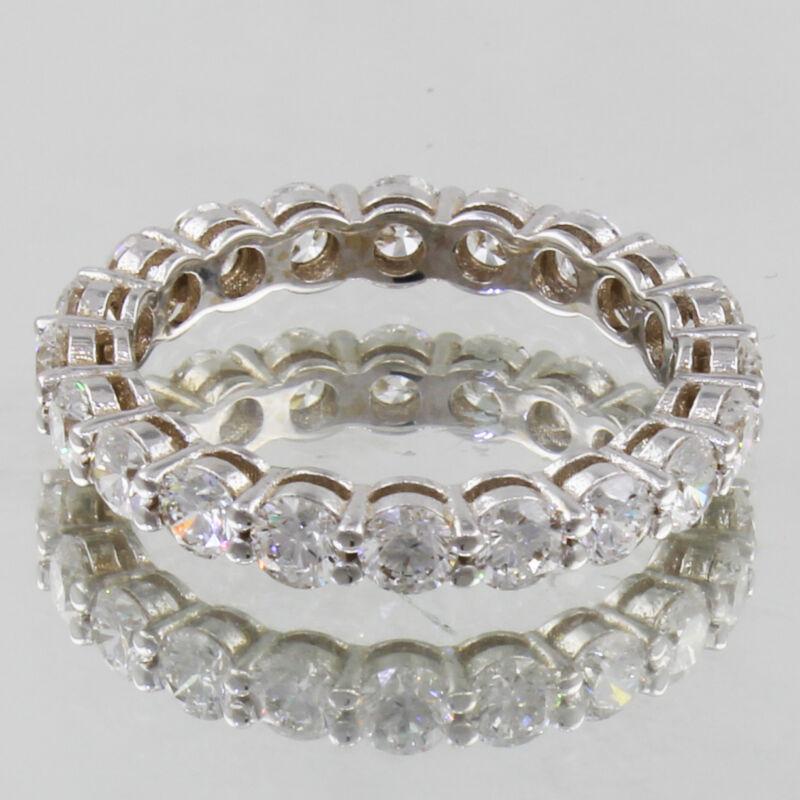Eternity Round Shape Diamond Ring Platinum 3.50 Carat Dia Certified