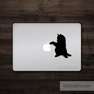 Cat Pawing - Mac Apple Logo Laptop Vinyl Decal Sticker Macbook Decal Cute Kitten