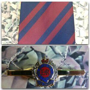 Royal-Engineers-Stripe-Tie-Tie-Bar-Set-Queens-Crown-RE