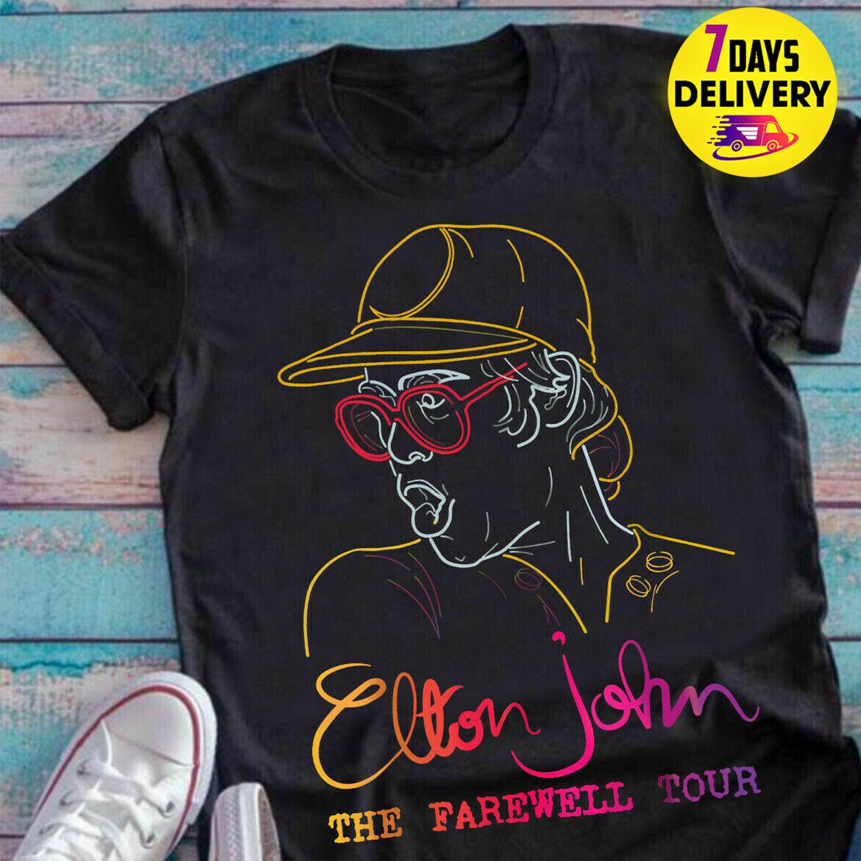 Elton John The Farewell Tour Fans T Shirt Black Size S-3XL