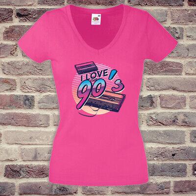 T-Shirt # 90er Jahre Love # Fun Frauen Shirt Lustig Spaß pink