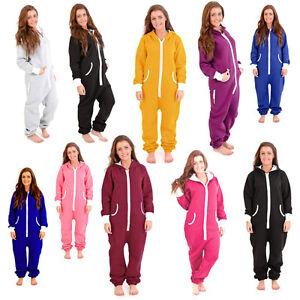 Adult-Womens-Onesie-Non-Footed-Jumpsuit-Zipper-Hoodie-Playsuit-Tracksuit-Pajamas