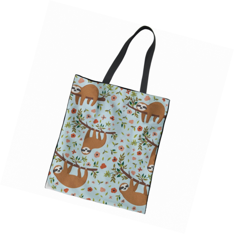 f4f08f621ea Details about Instantarts Floral Sloth Printing Heavy Duty Canvas Tote Bag  Can Be Personalized
