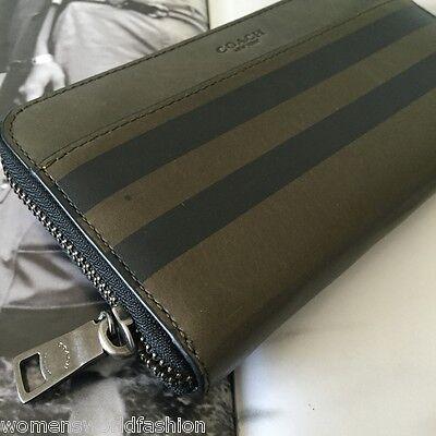 Coach Mens Surplus Stripe Leather Varsity Accordion Zip Wallet Clutch 75132 NWT
