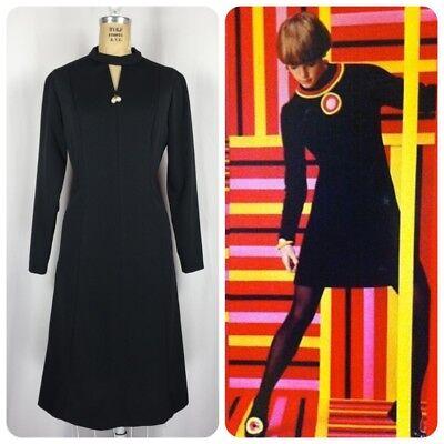 Vintage 60's Women's Size XL Mod Black Long Sleeve Keyhole Sheath Dress Twiggy
