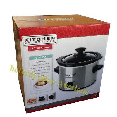Kitchen Selectives 1.5 Qt Slow Cooker Pot Stainless NEW