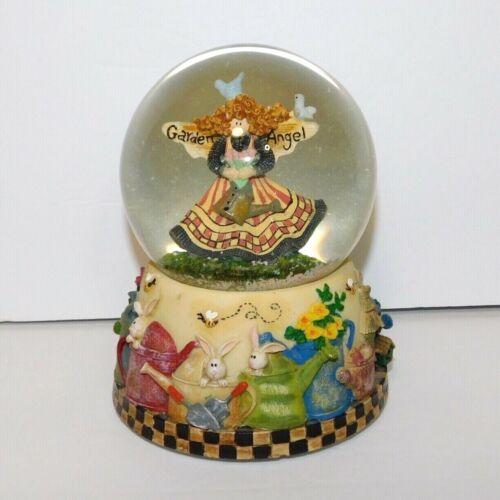 Debbie Mumm Musical Snow Globe Garden Angel w/ Watering Cans Bunnies Flowers VTG