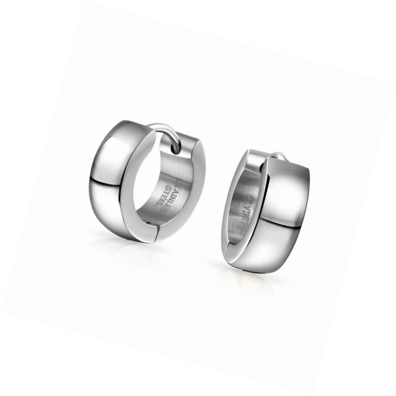 1e7ce59dd4b34 Details about Bling Jewelry Mens Stainless Steel Huggie Hoop Earrings