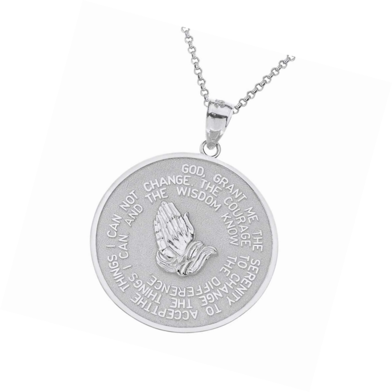 925 Sterling Silver Bible Verse Serenity and Lords Prayer Medal Pendant Necklace