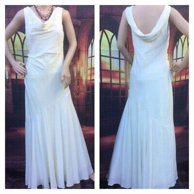 Monsoon Ivory Cowl Neck Art Deco 20's Style Wedding Prom Dress 8