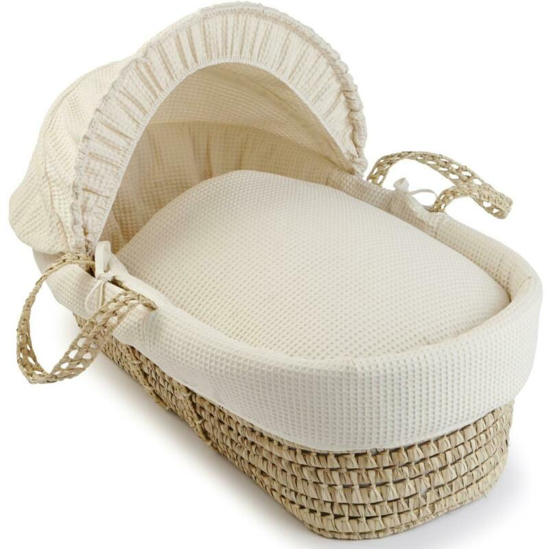 Clair De Lune WAFFLE PALM MOSES BASKET - CREAM Newborn Baby Nursery Sleep