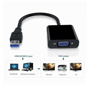 USB 3.0 to VGA Video Graphic Card Display External Adapter Cable Windows 7 8 10