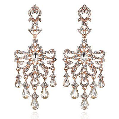 Huge Victorian Austrian Crystal Drop Chandelier Dangle Earrings E2097R Rose -