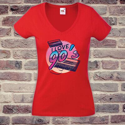 T-Shirt # 90er Jahre Love # Fun Frauen Shirt Lustig Spaß rot