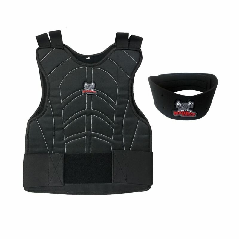 Maddog Paintball Chest Protector Neck Protector Safety Combo Black