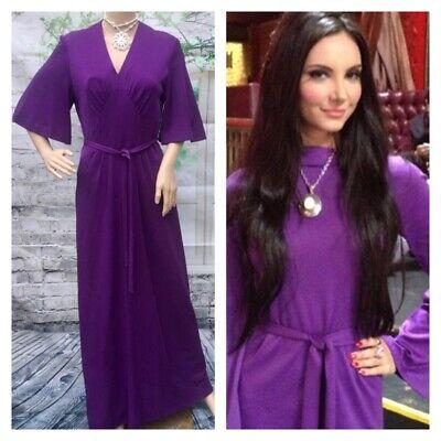 70's Vintage Purple French Maxi Dress Boho Hippy Art Deco Love Witch Style 10/12