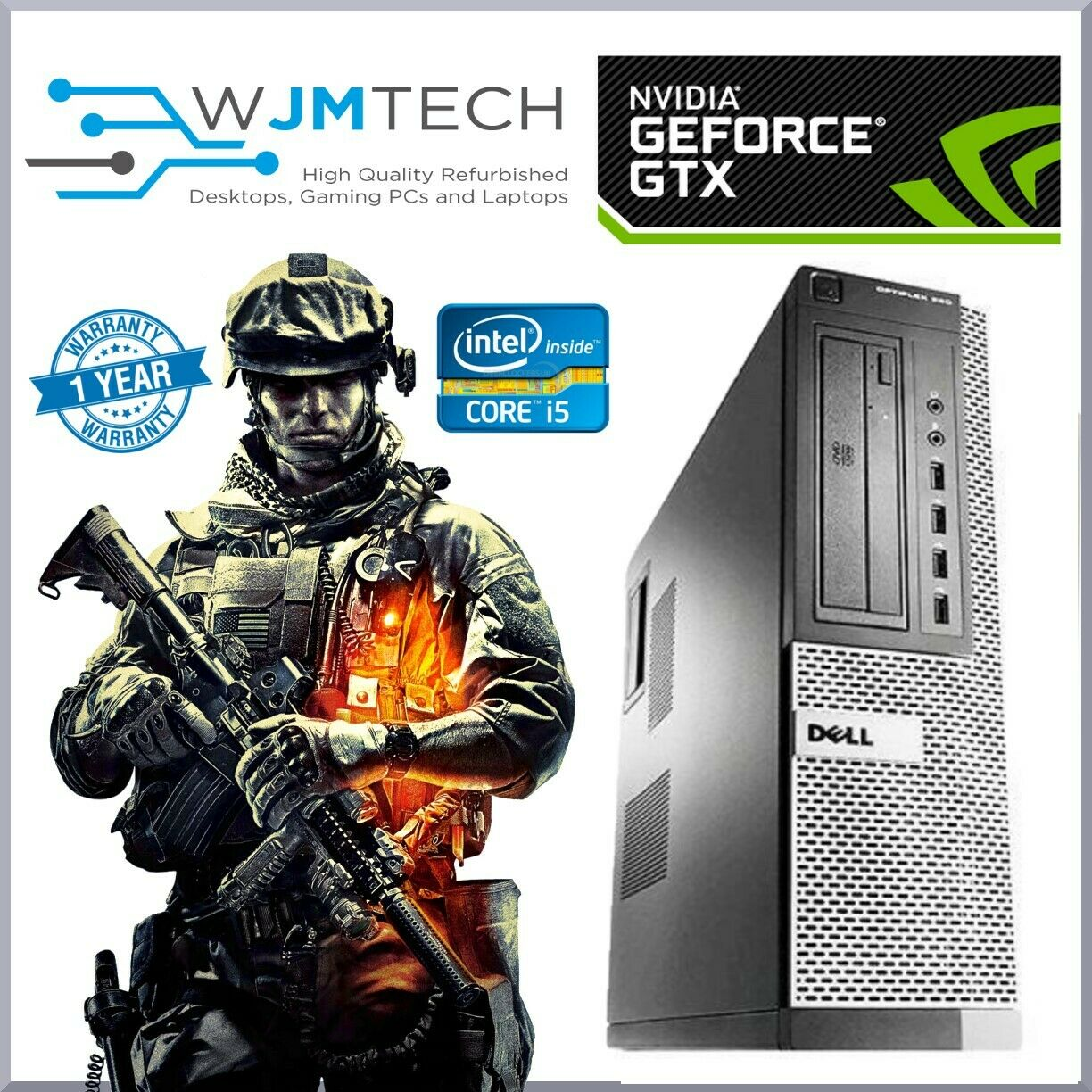 Computer Games - Dell Desktop Gaming PC Core i5 Computer 16GB RAM 480GB SSD Windows 10 Warranty