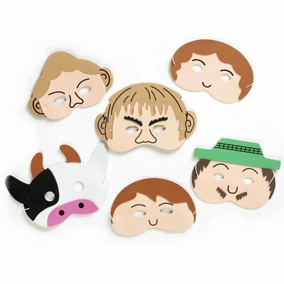Pack of 6 Foam Face Masks - Jack and The Beanstalk Story Masks Childrens - Jack And The Beanstalk Costumes