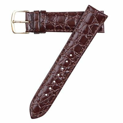Hadley-Roma Men's Crocodile Embossed Brown Leather Watch Band Strap 18mm MS717