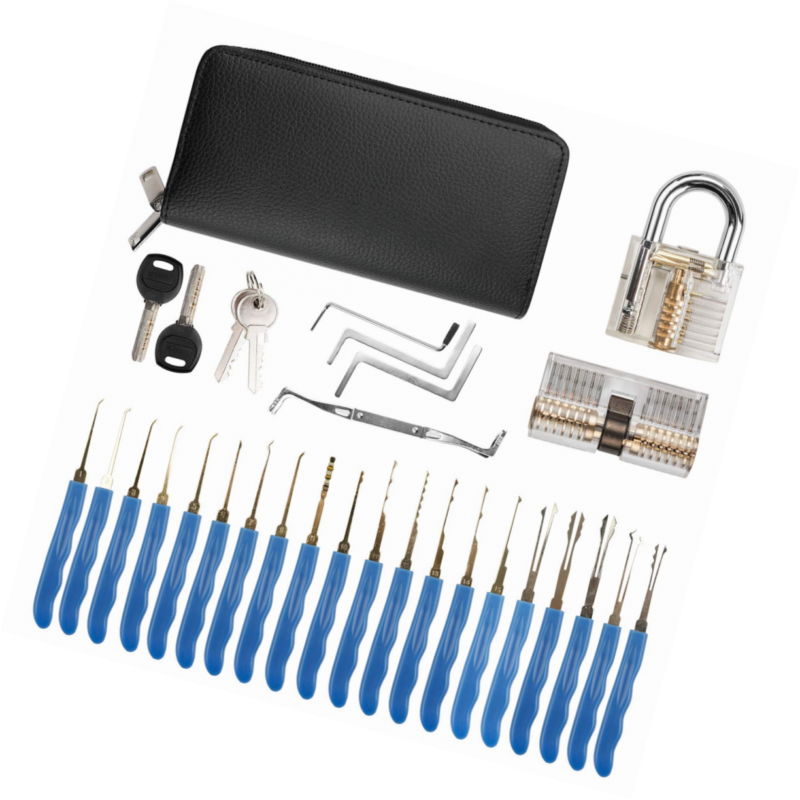Dietrich Set EXTSUD Lockpicking Set 24-Teiliges mit 2 Transparentem Trainingsschl/össern und Ledertasche Lock Pick Set Perfekte f/ür Anf/änger und Profis Schlosser