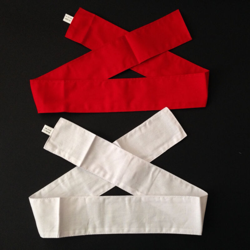 SET of 2 Japanese Hachimaki Headband Red White Martial Arts Sports Made in Japan