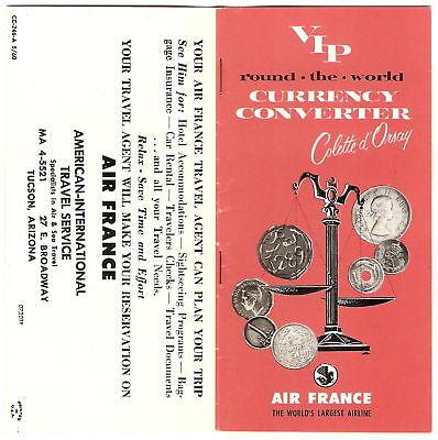Vint 1960 Travel Booklet Air France Currency Converter