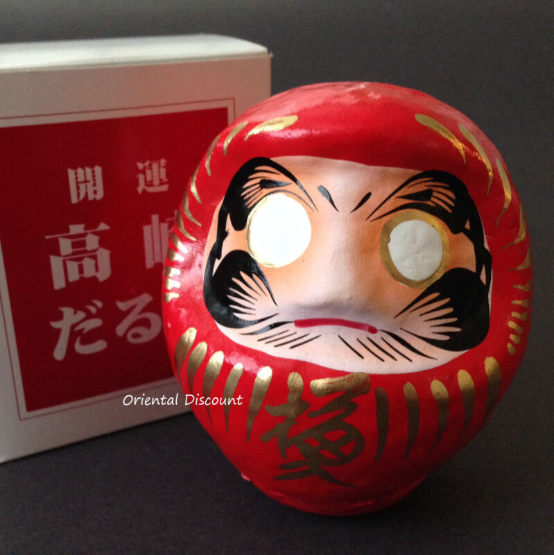 """Japanese 3.75""""H Red Daruma Doll for Luck & Good Fortune SUCCESS, Made in Japan"""