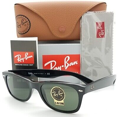NEW Rayban New Wayfarer sunglasses RB2132 901 52mm Black G15 Grey 2132 (Rb2132 901 52)