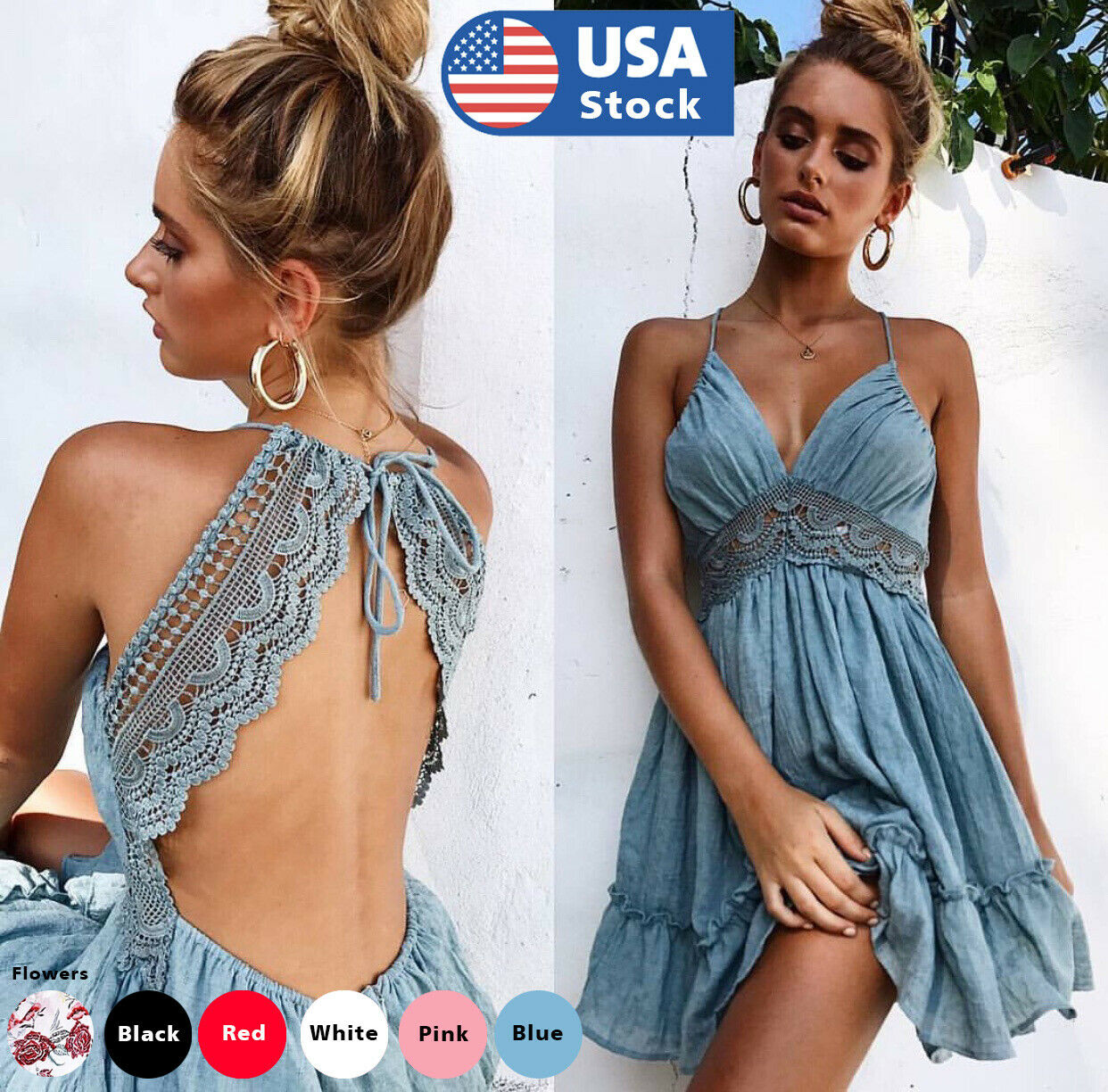 Womens Backless Sleeveless Bohemia Mini Dress Summer Beach Party Short Sundress Clothing, Shoes & Accessories