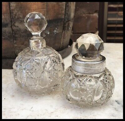 Vintage Cut Crystal Sterling Silver Perfume Vanity Boudoir Bottle Birmingham1908