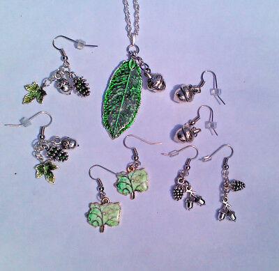 LNT- Pine Cone, Acorn, Oak Tree, Leaf Earrings Pendant Ln1294 Forest TOL Faith