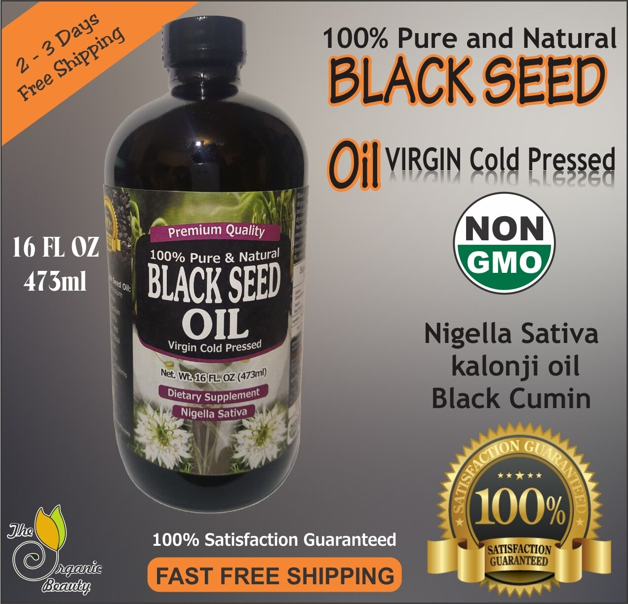 16 oz 100% Pure Black Seed Oil Cold Pressed Cumin Nigella Sativa non GMO