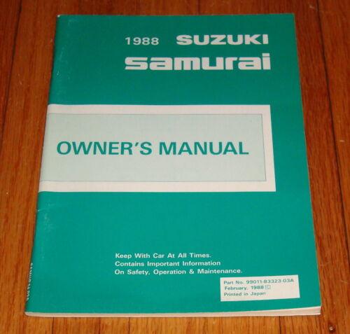 Original 1988 Suzuki Samurai Owners Operators Manual Guide