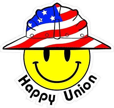 3 - Happy Union Smiley Usa Hardhat Oilfield Helmet Toolbox Sticker H911