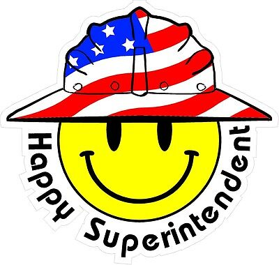 3 - Happy Superintendent Smiley Usa Hardhat Oilfield Helmet Toolbox Sticker H90
