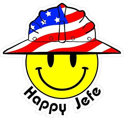 3 - Happy Jefe Smiley Usa Hardhat Oilfield Helmet Toolbox Sticker H860