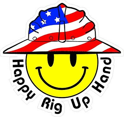 3 - Happy Rig Up Hand Smiley Usa Hardhat Oilfield Helmet Toolbox Sticker H887