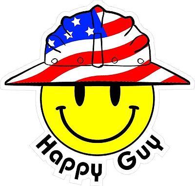 3 - Happy Guy Smiley Usa Hardhat Oilfield Helmet Toolbox Sticker H854