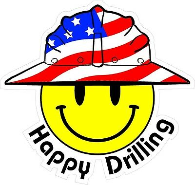 3 - Happy Drilling Smiley Usa Hardhat Oilfield Helmet Toolbox Sticker H818