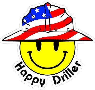 3 - Happy Driller Smiley Usa Hardhat Oilfield Helmet Toolbox Sticker H835