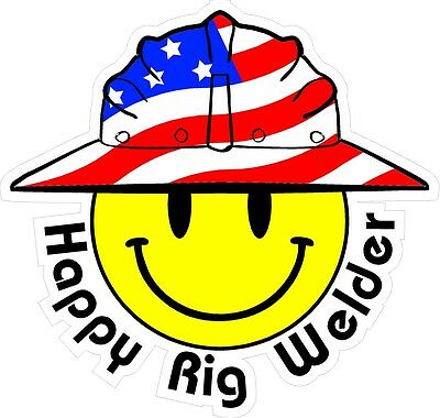 3 - Happy Rig Welder Smiley Usa Hardhat Oilfield Helmet Toolbox Sticker H888