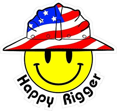 3 - Happy Rigger Smiley Usa Hardhat Oilfield Helmet Toolbox Sticker H889