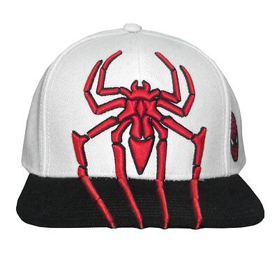 Spiderman 3d Spider Embroidered White Cap With Black Brim Official