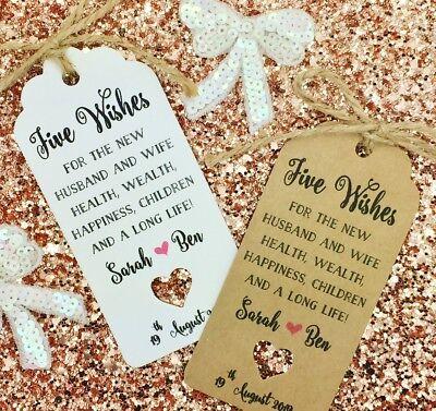 Jordan Almond Wedding Favour Tags, Sugared Almond Tags, Five Wishes (Jordan Almonds Italian Wedding)