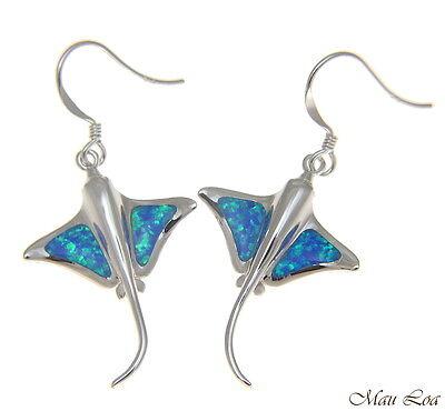 925 Sterling Silver Rhodium Hawaiian Stingray Fish Blue Opal Hook Wire Earrings