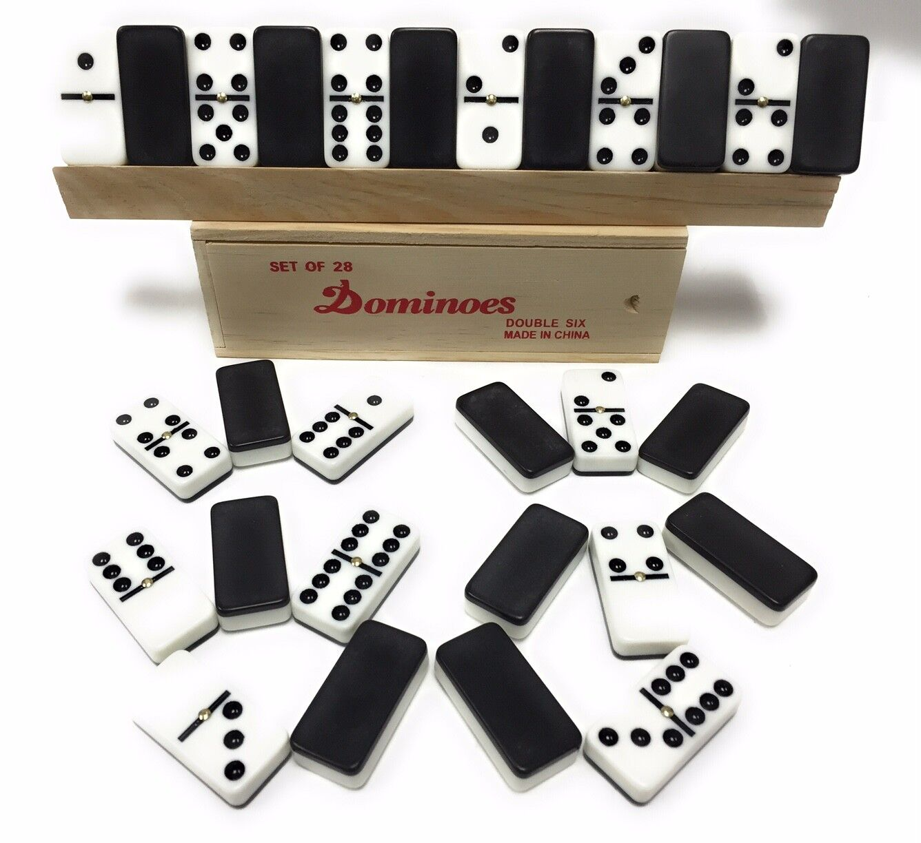 """28 Pieces Double Six 6 Black And White 5"""" Inch Thick Dominoe"""