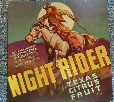 NIGHT RIDER VINTAGE CITRUS CRATE LABEL LA FERIA, TX  KITCHEN DECOR rare version