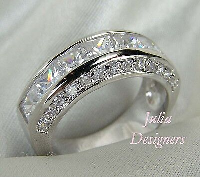Mens Ring Platinum-ep Sterling Silver Wedding Band! New! Size 6 to 13½! FreeShip
