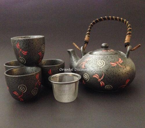 SET of 5 Japanese Chinese Ceramic Tea Set w/ Mesh Strainer Grey Slate Dragonfly