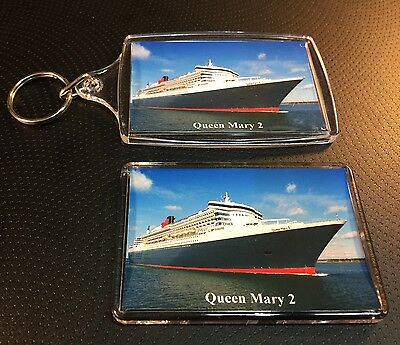 QUEEN MARY 2 Cunard Line Photo Key Ring & Fridge Magnet Set Cruise Ship Liner